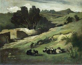 Anselm Feuerbach: Landschaft mit Ziegen