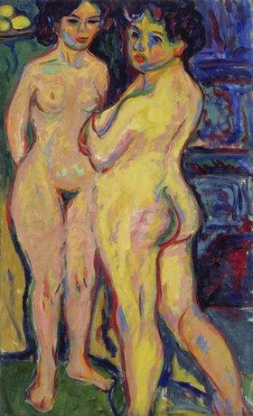 Ernst Ludwig Kirchner: Stehende nackte Mädchen am Ofen
