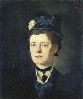 Wilhelm Trübner: Dame mit blauem Hut