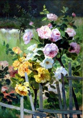 Eugene Henri Cauchois: Rosen am Gartenzaun