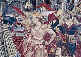 Domenico di Bartolo (Ghezzi): Junge Frau. Detail aus dem Fresko Papst Celestin III. gewährt die Privilegien