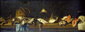 Jacob van Es: Stillleben mit Fischen auf einer Küchenbank