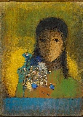 Odilon Redon: Frau mit Feldblumenstrauss