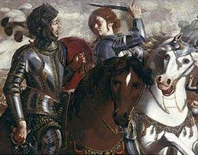 Paolo Domenico Finoglia: Die Begegnung von Tankred und Clorinde. Detail aus einem Gemälde des Zyklus