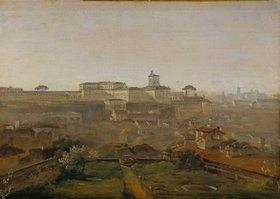 Johann Georg von Dillis: Blick von der Villa Malta auf den Quirinal, Rom