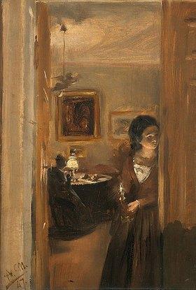 Adolph von Menzel: Wohnzimmer mit Menzels Schwester