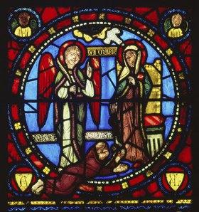 Verkündigung an Maria. Glasfenster in der Abteikirche von Saint Denis