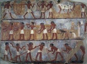Ägyptisch: Fragment einer Wanddekoration von Mastaba mit Darstellung verschiedener Arbeiten