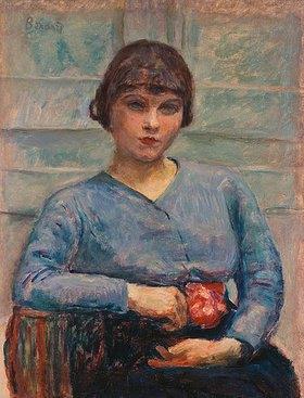 Pierre Bonnard: Junge Frau in blau mit einer Rose (Jeune Fille en bleu, à la Rose.)