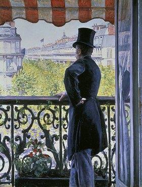 Gustave Caillebotte: Mann mit Zylinderhut auf dem Balkon am Boulevard Hausmann
