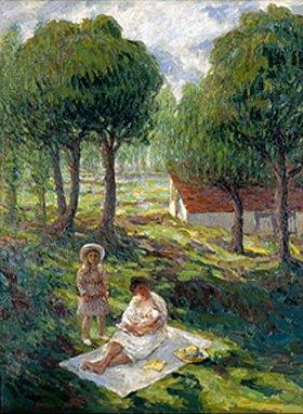 Henri Lebasque: Mutter mit Kindern in einer Landschaft