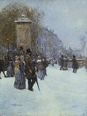 Jean François Raffaelli: Straßenszene im winterlichen Paris