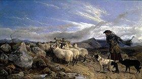 Richard Ansdell: Schäfer mit Herde im Hochmoor