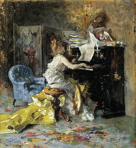 Giovanni Boldini: Frau am Piano