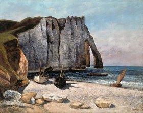 Gustave Courbet: Falaise von Etretat und Boote am Strand
