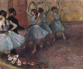 Edgar Degas: Blaue Tänzerinnen auf der Probenbühne