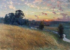 David Ericson: Weite Landschaft mit Feld und Fluss bei Sonnenuntergang