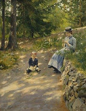 Paul Fischer: Dagny, die Frau des Künstlers, mit ihrem Sohn Sigurd im Park