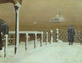 Henrik Hillbom: Fähre auf dem Hudson River im Winter