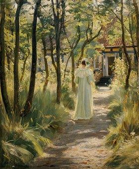 Peter Severin Kroyer: Marie, die Frau des Künstlers, auf einem Gartenweg