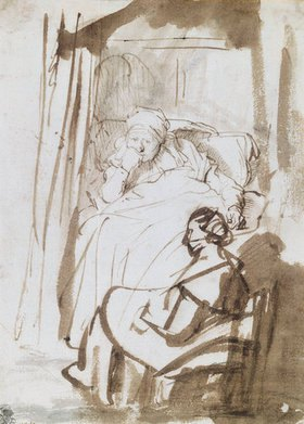 Rembrandt van Rijn: Saskia im Bett mit Krankenschwester. Tusche-Skizze