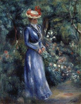 Auguste Renoir: Dame in blauem Kleid im Park von Saint-Cloud