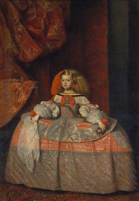 Diego Rodriguez de Velazquez: Die Infantin Margarita Theresa  in blaurotem Reifrock mit Spitzentüchlein. Gegen
