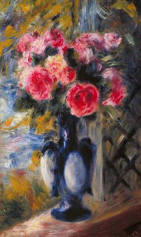 Auguste Renoir: Rosenstrauß in blauer Vase