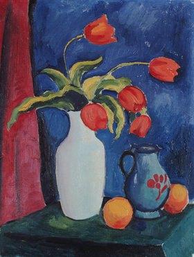 August Macke: Rote Tulpen in weißer Vase