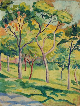August Macke: Bäume in der Wiese. 1910