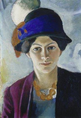August Macke: Frau des Künstlers mit Hut