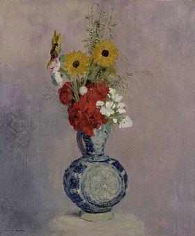 Odilon Redon: Blumenstrauß in blauer Vase