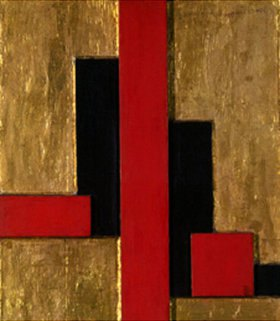 Erich Buchholz: Holzreliefplatte rote senkrechte