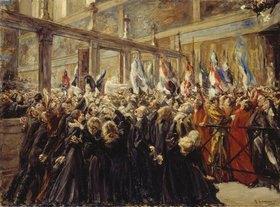 Max Liebermann: Papst Leo XIII. segnet die Pilger in der Sixtinischen Kapelle