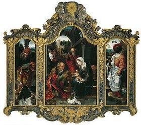 Antwerpener Meister: Triptychon mit der Anbetung der hl. drei Könige