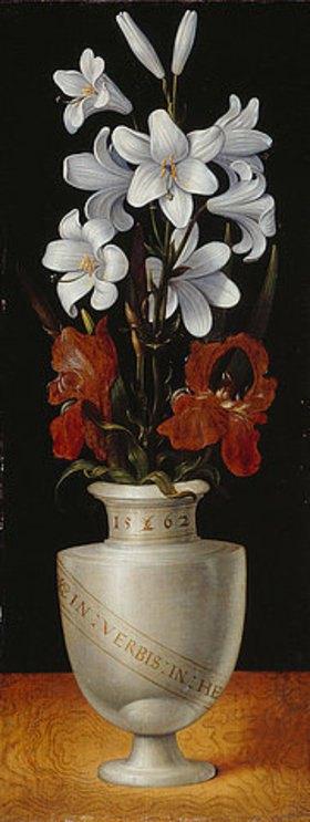 Ludger tom d.J Ring: Blumenvase mit braunroten und weißen Irisblüten