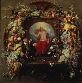 Frans Snyders: Blumen- und Früchtegirlande und Christi Himmelfahrt