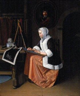 Pieter van der zugeschrieben Werff: Malerin im Atelier