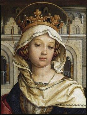 Hans Holbein d.Ä.: Sebastiansaltar 1516. Re. Flügel innen: Die hl. Elisabeth - Detail