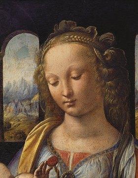 Leonardo da Vinci: Maria mit dem Kinde - Detail: Kopf der Maria