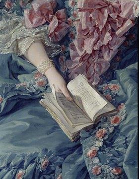François Boucher: Bildnis der Marquise de Pompadour, Detail: Hand und Buch