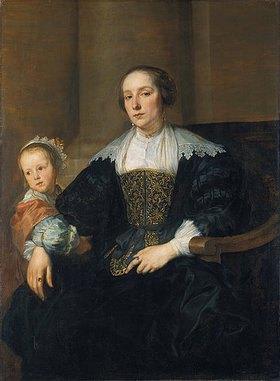Anthonis van Dyck: Bildnis der Gemahlin des Malers Theodor Rombouts mit ihrer Tochter (?)