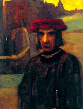 Lajos Gulácsy: Mann mit rotem Hut