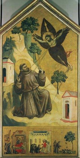 Giotto di Bondone: Stigmatisation des hl. Franziskus mit drei Episoden a. s. Leben auf der Predella
