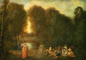 Jean Antoine Watteau: Gesellschaft im Park