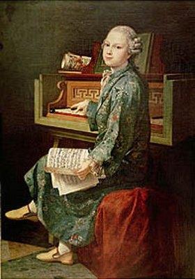 Französisch: Gemälde eines Jungen am Klavier, wahrscheinl. Wolfgang Amadeus Mozart