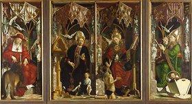 Michael Pacher: Kirchenväteraltar. Totale. Die Kirchenväter: Hieronymus, Augustinus, Gregor und Ambrosius