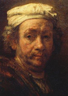 Rembrandt van Rijn: Kopfausschnitt des Selbstbildnisses vor der Staffelei
