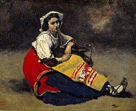 Jean-Baptiste Camille Corot: Bildnis einer sitzenden Italienerin