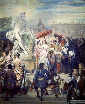 Eugene Devéria: Pierre Puget führt Louis XV. im Park von Versailles seine Statue des Milon vor